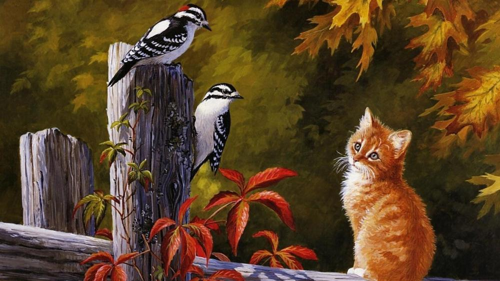 Cute cat with birds painting wallpaper