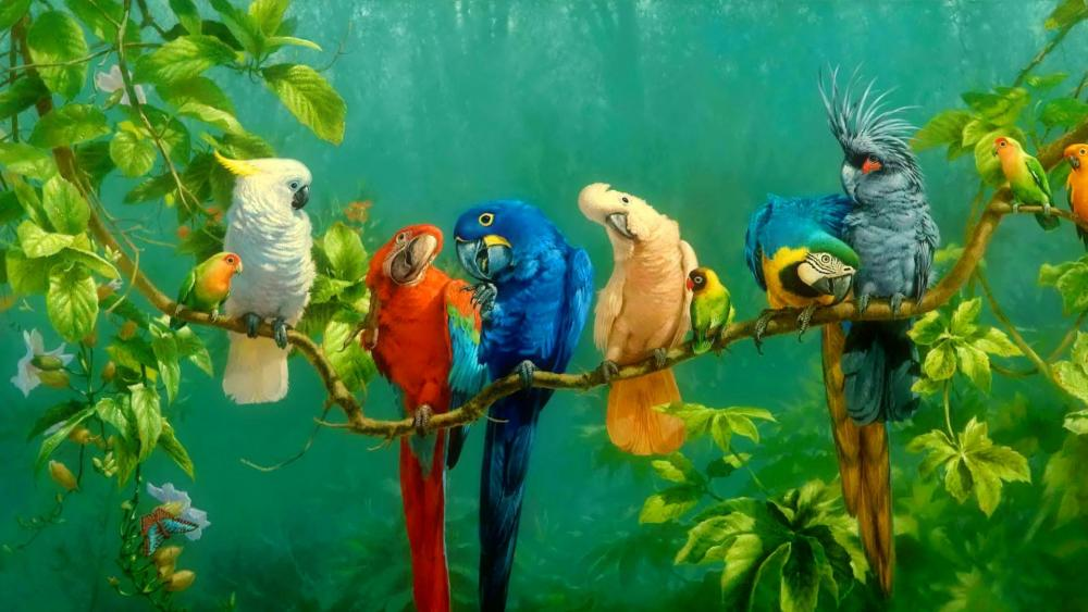Colorful parrot birds on the tree oil painting  wallpaper