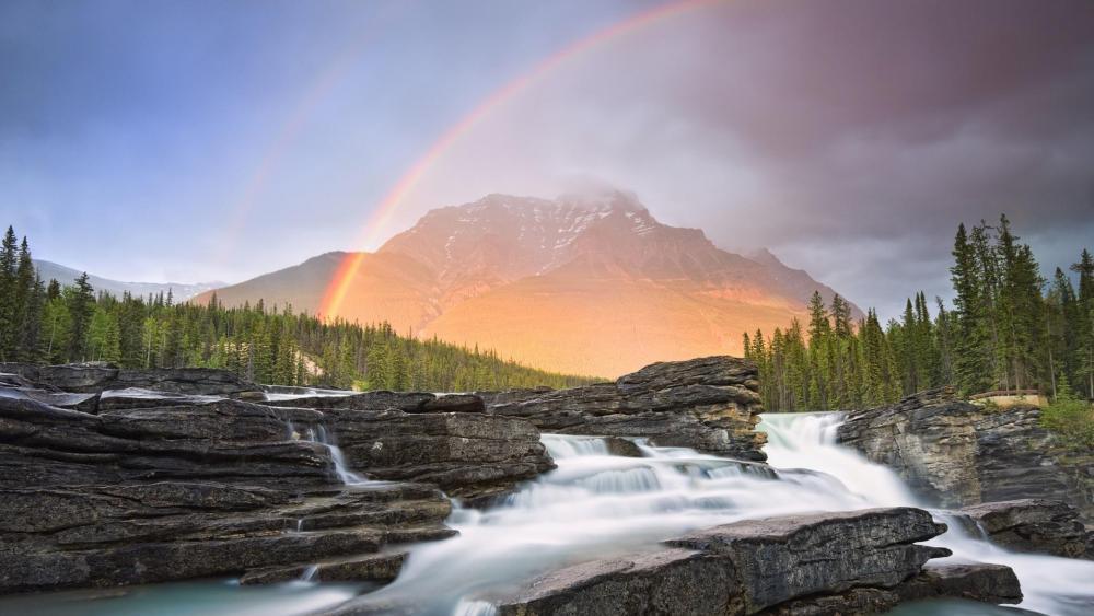 Rainbow over the cascade  wallpaper