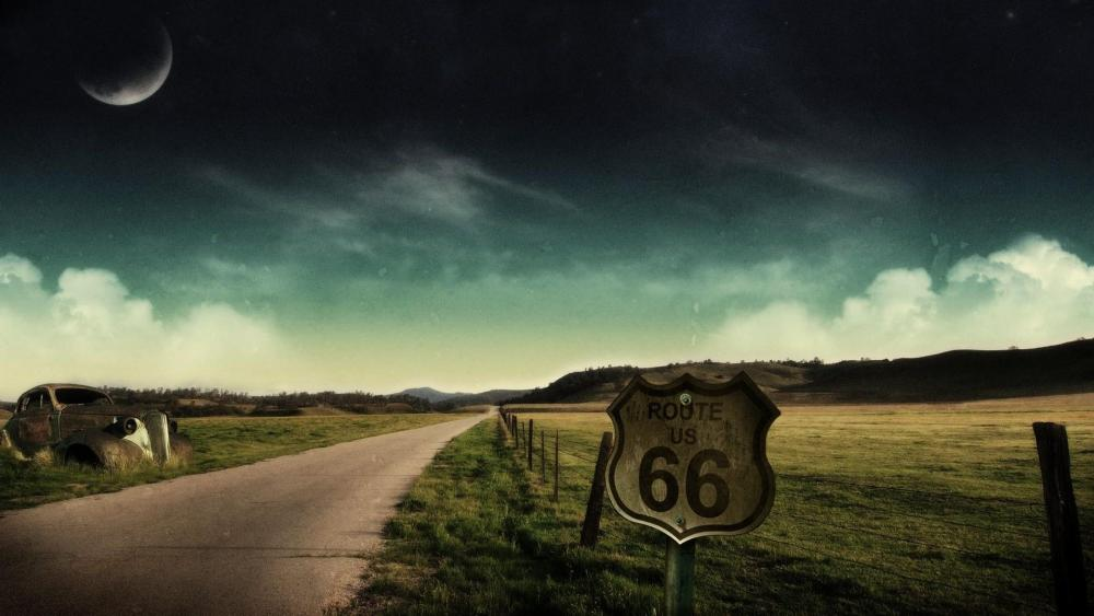 Route 66 at night wallpaper