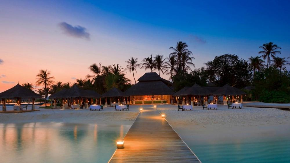 Maldives beach at night wallpaper
