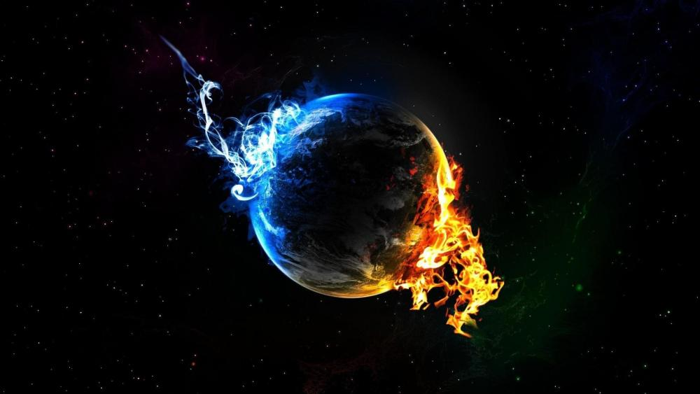 Flaming Earth wallpaper