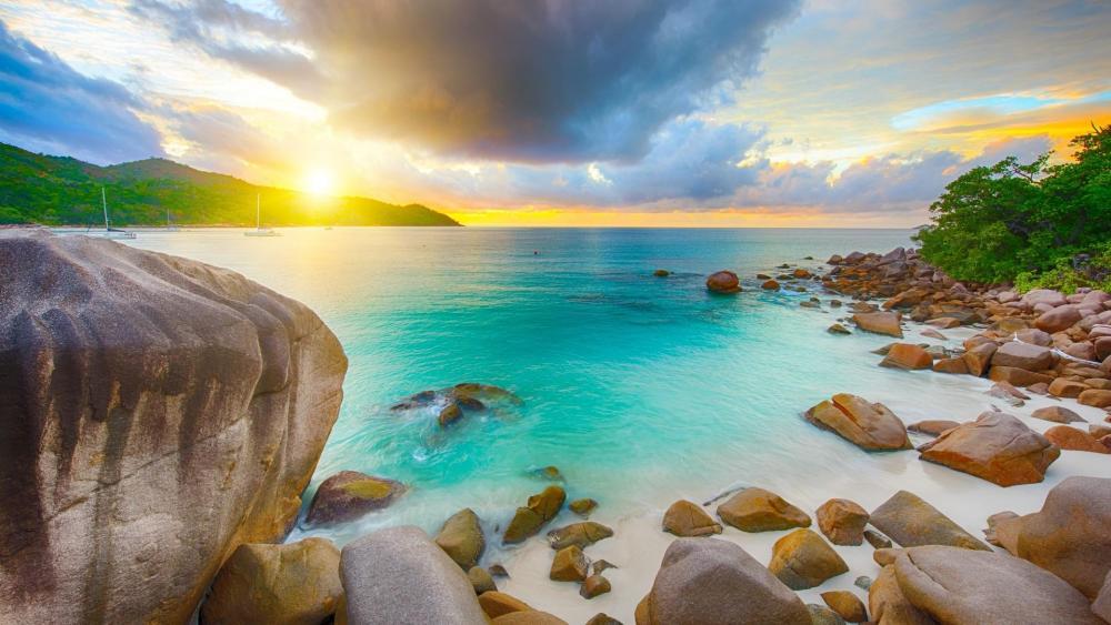 Rocky beach in Seychelles Island wallpaper