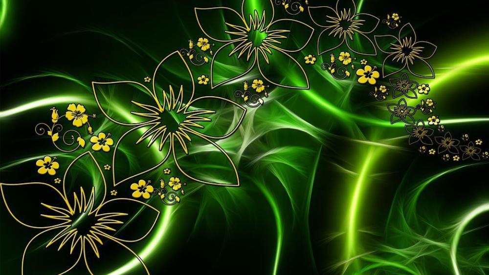 Digital abstract fractal vision wallpaper