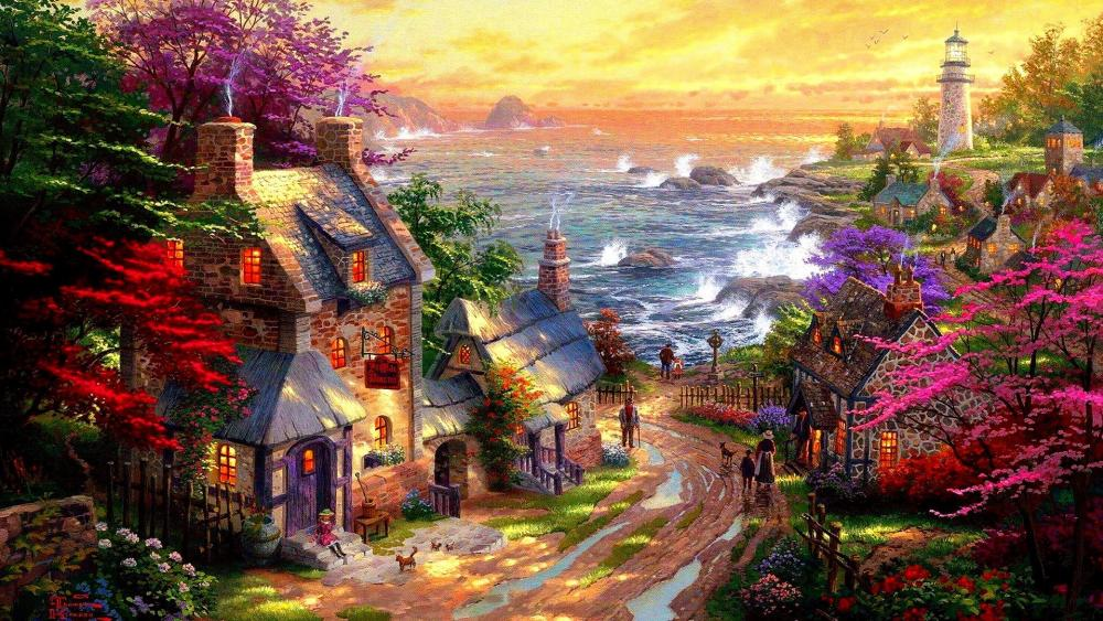 Spring village by the sea - Painting art ️ wallpaper
