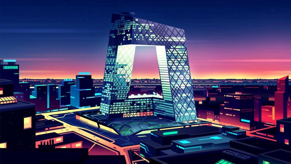 Night city futuristic art wallpaper