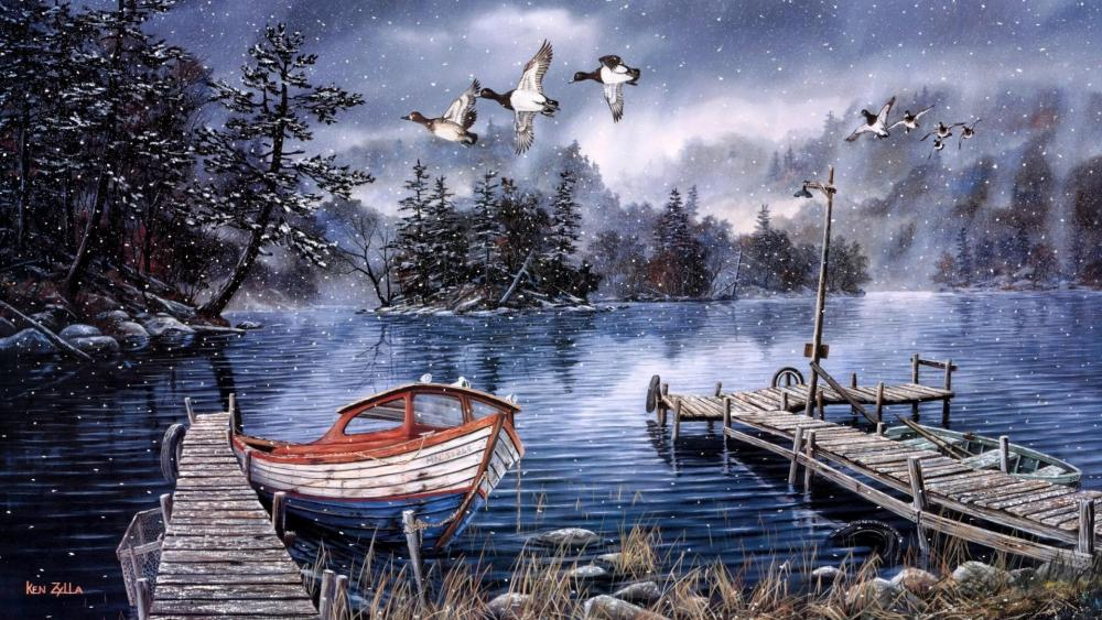Winter lakeside painting art wallpaper