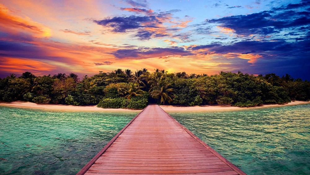 Pier to Paradise Island wallpaper