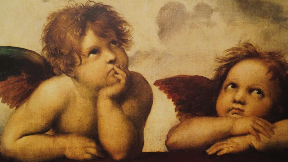 Sistine Madonna painting by Raphael wallpaper