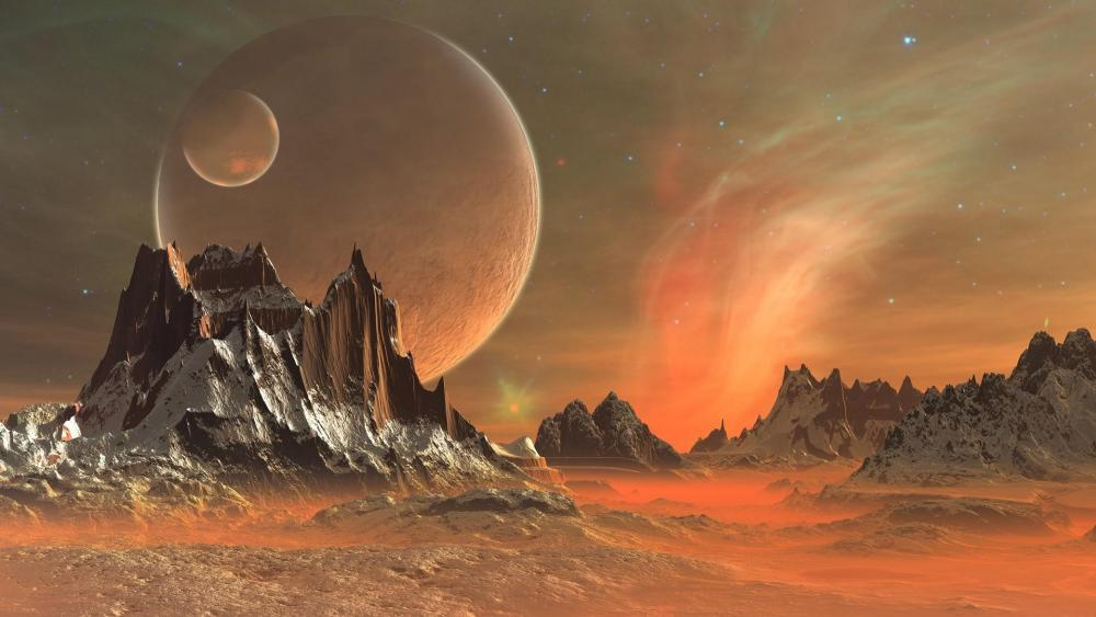 Fantasy art with two moon wallpaper