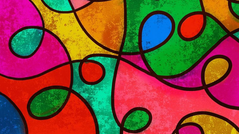 Colorful stained glass art wallpaper
