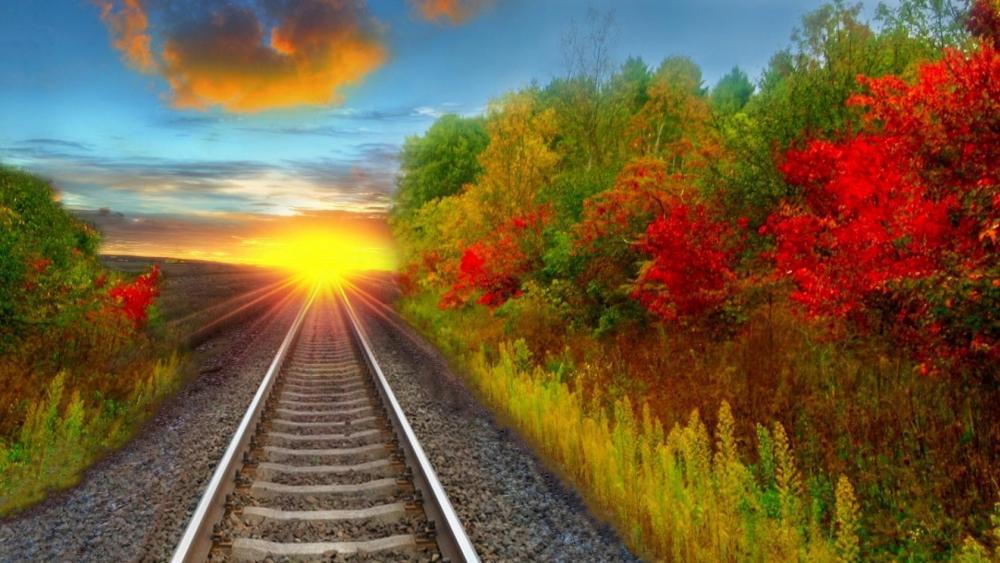 Rail in the sunset wallpaper