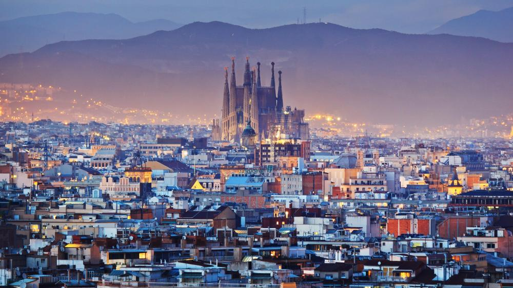 Barcelona in dusk wallpaper