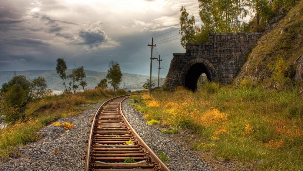Endless railroad  wallpaper