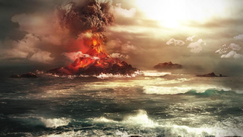 Volcano eruption in the ocean wallpaper