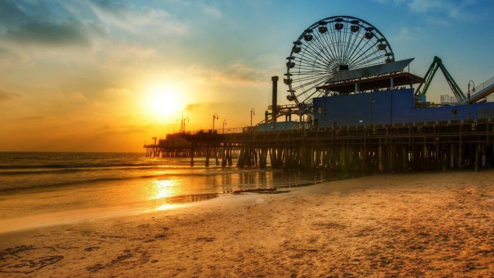 Santa Monica Pier in the sunset, Los Angeles, California wallpaper