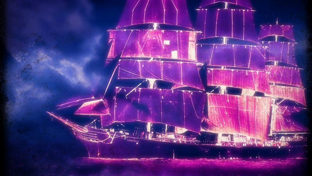 Pink and magenta abstract ship wallpaper