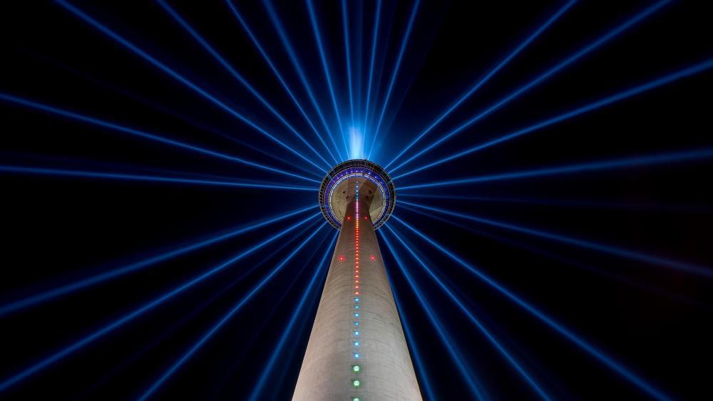 TV Tower Dusseldorf at night wallpaper