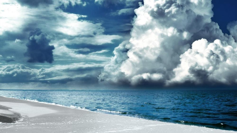 Clouds above the blue sea  wallpaper