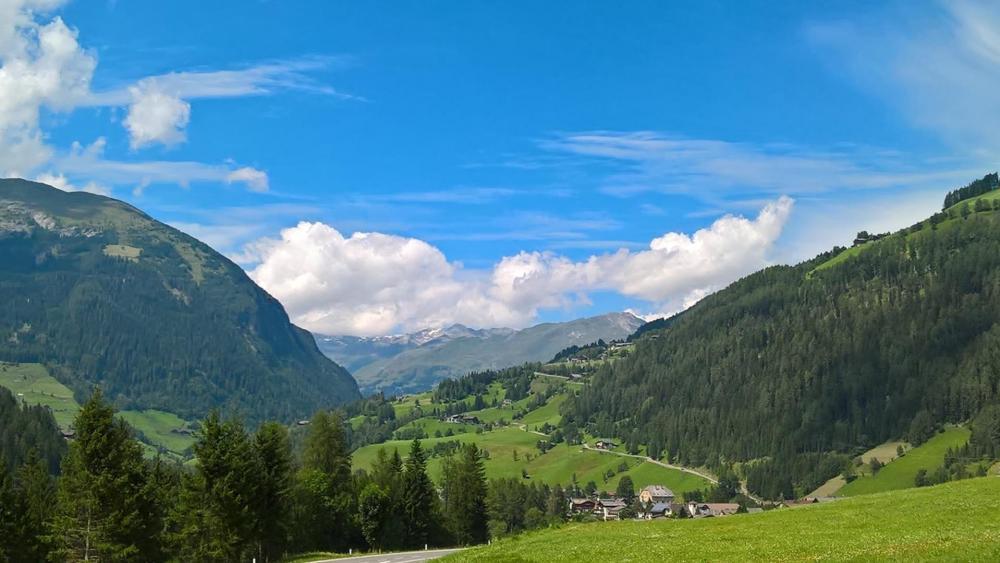 Green hillside in Austria wallpaper