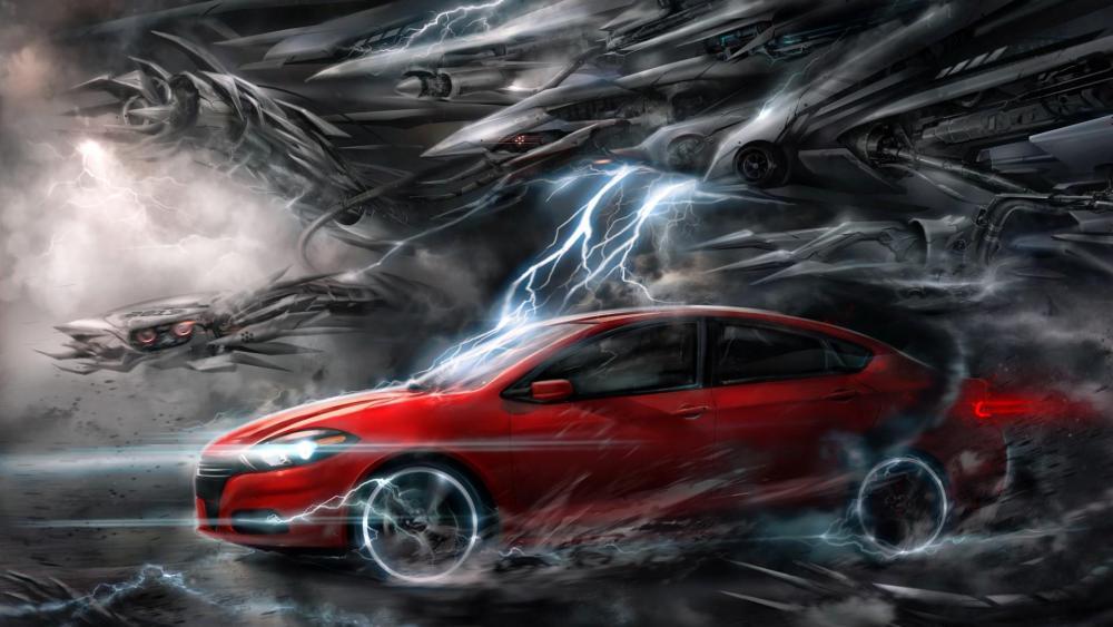 Fantasy red car in a futuristic world wallpaper