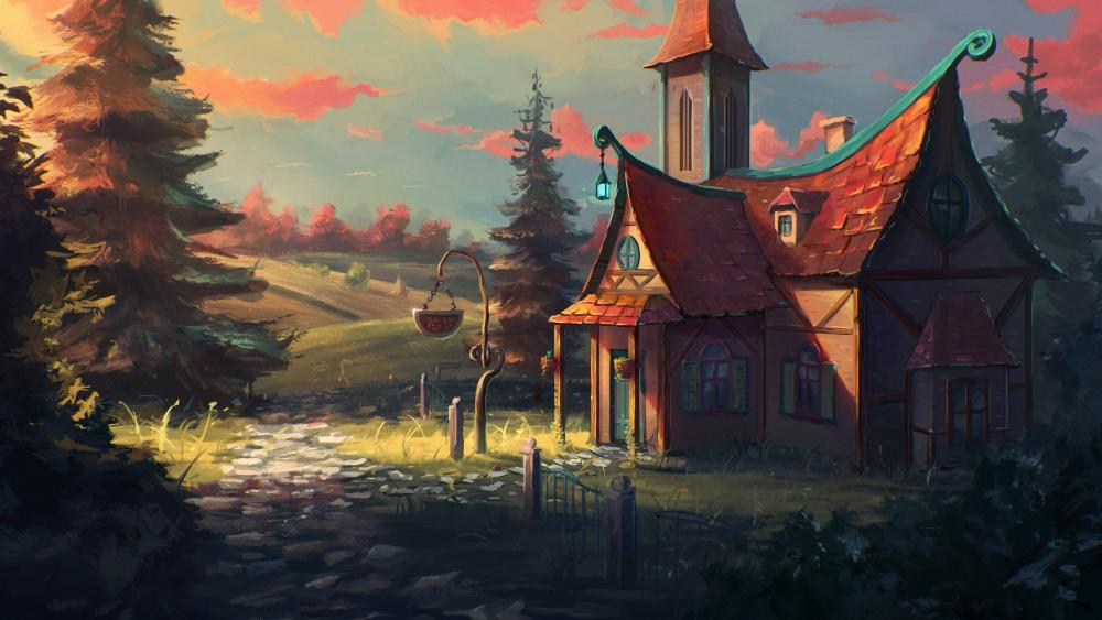 Fabulous cottage on the edge of the forest fantasy art wallpaper