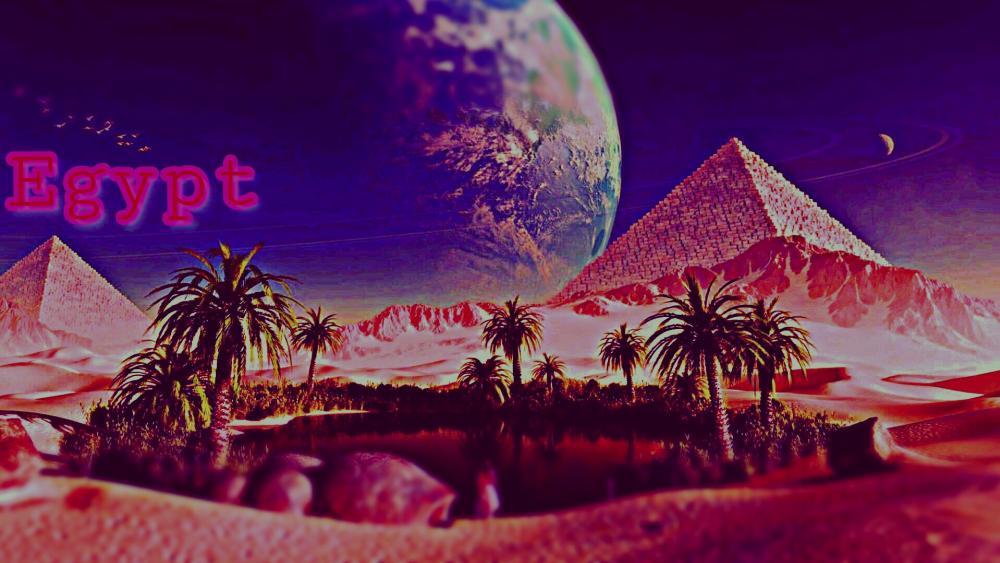 Pink desert oasis wallpaper
