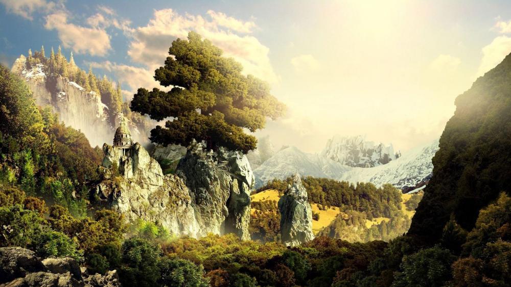 Epic fantasy landscape wallpaper