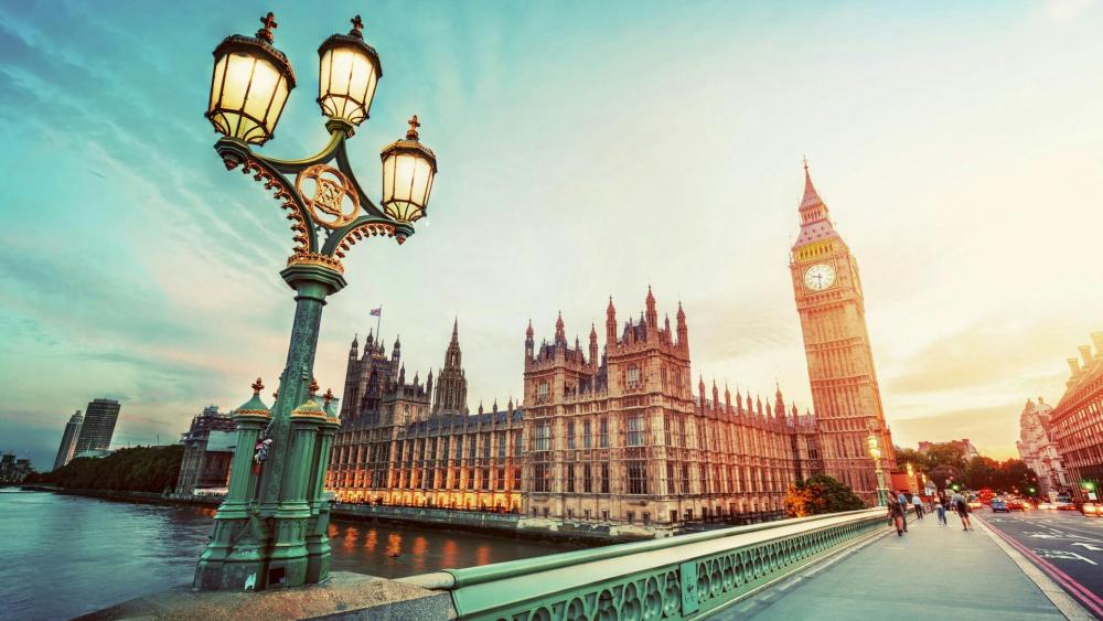 Houses of Parliament and Big Ben from Westminster Bridge, London wallpaper