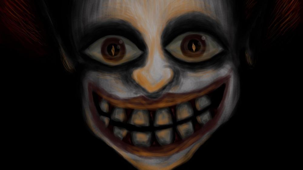 Creepy clown art image wallpaper