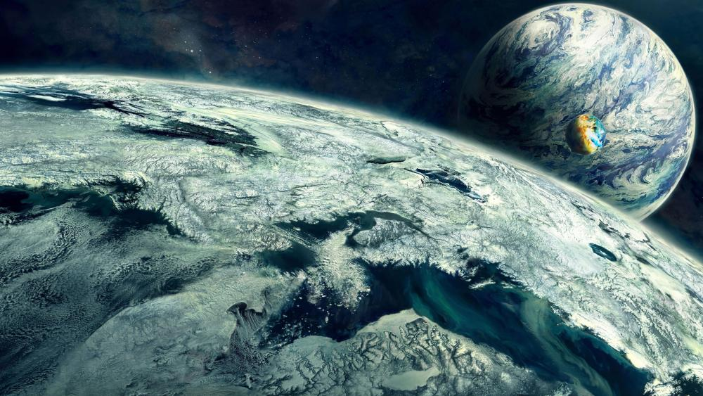 Fantasy Worlds in the space wallpaper