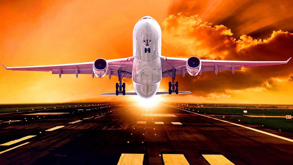 Airplane taking off wallpaper