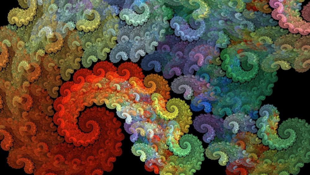 Colorful fractal psychedelic art wallpaper