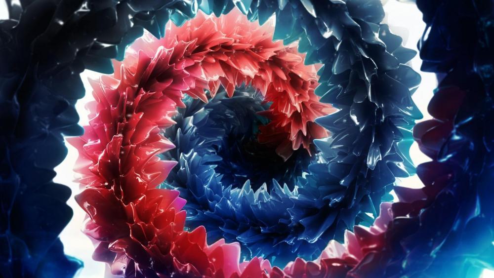 3D red and blue deep art wallpaper