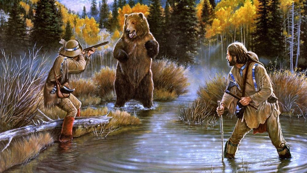 Bear hunting painting wallpaper