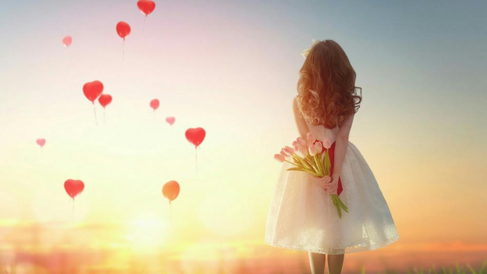 Romantic girl with flowers wallpaper