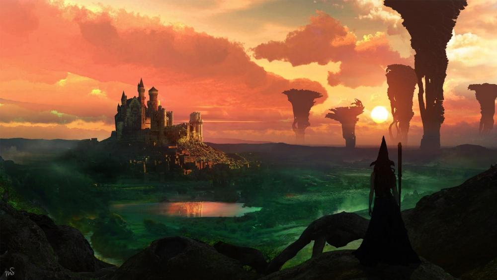 Fantasy magic castle wallpaper