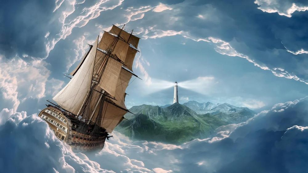 Schooner in the storm - Fantasy art wallpaper