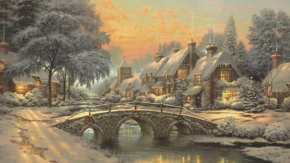 Christmas in the village - Painting art wallpaper