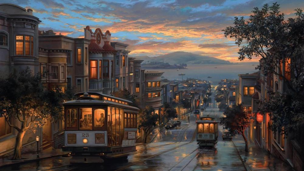 San Francisco Tram by the evening wallpaper