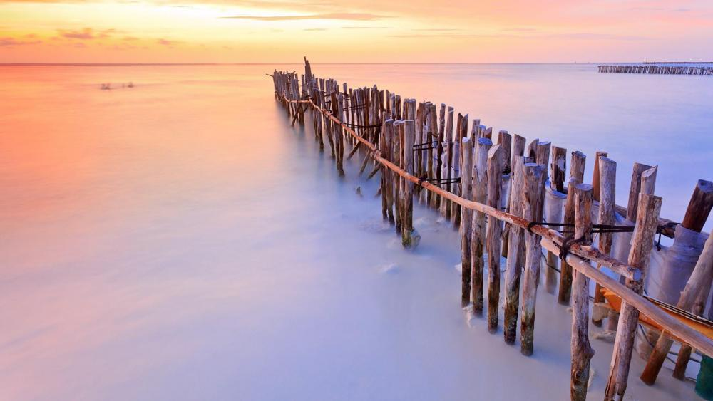 Sunset over the beach wallpaper