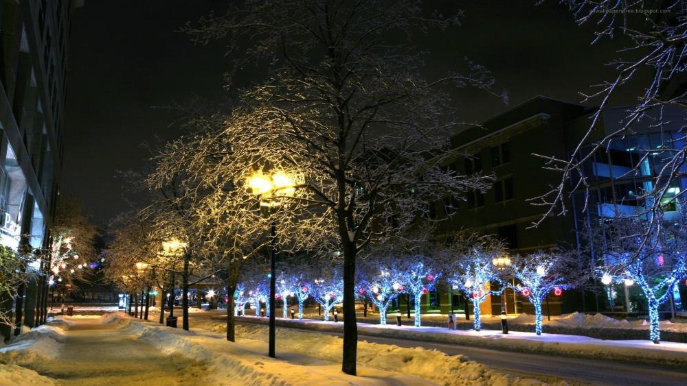 Winter street wallpaper
