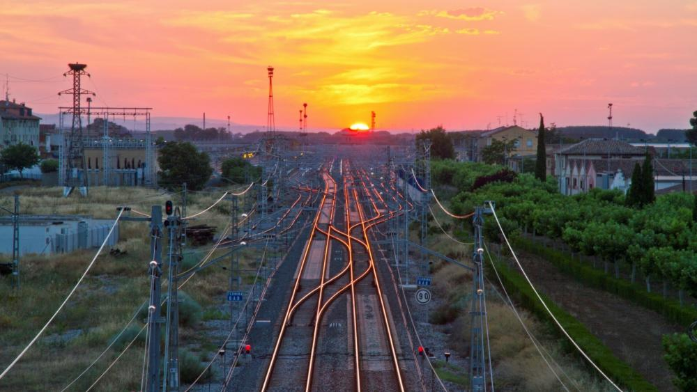 Railroad tracks in the sunset wallpaper
