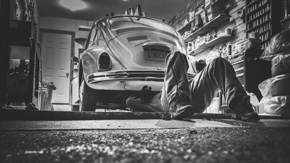 Volkswagen Beetle - Monochrome photography wallpaper