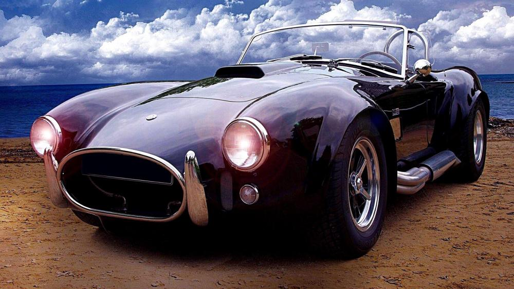 Shelby AC Cobra - Vintage car on the beach wallpaper
