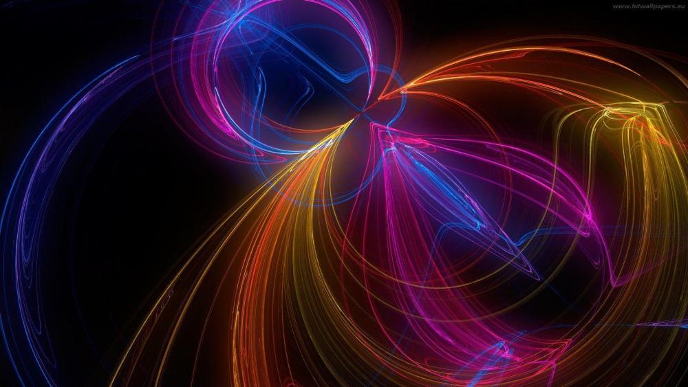 Glowing curves - Digital art wallpaper