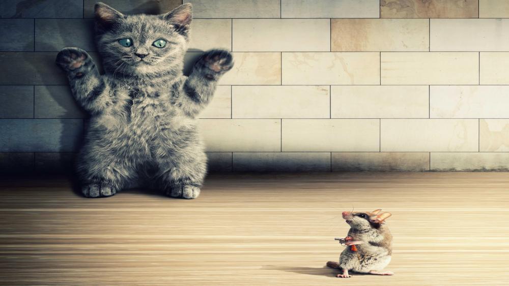 Cat in danger wallpaper