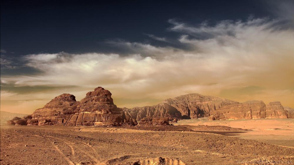 Sandstorm in the desert wallpaper