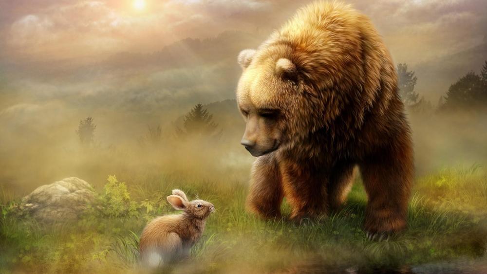 Bunny and bear - Fairytale art wallpaper