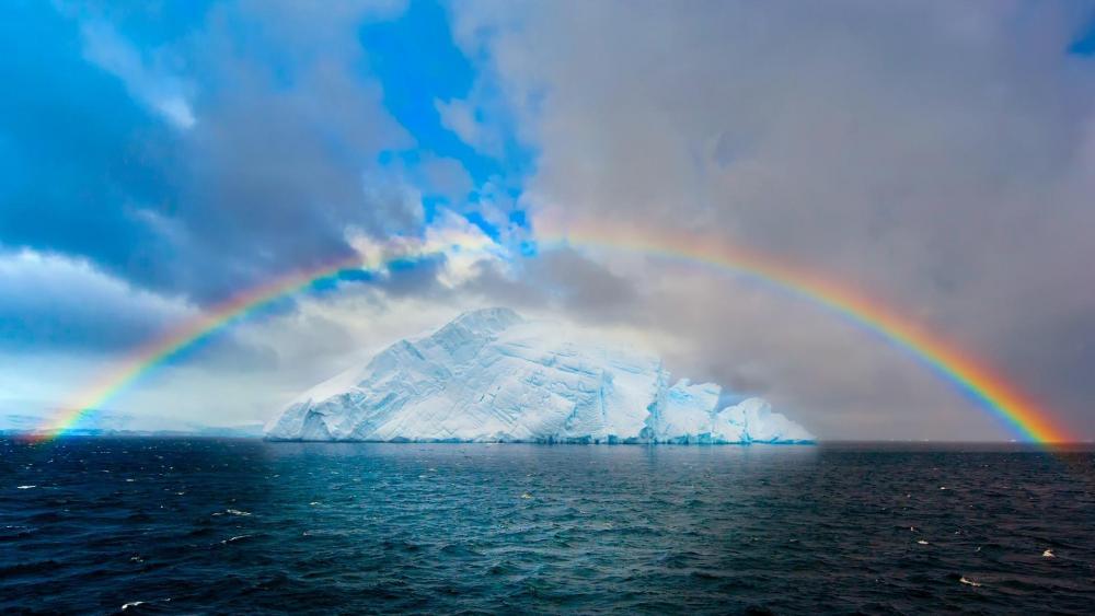 Rainbow over the iceberg  wallpaper
